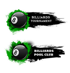Billiards tournament banners pool snooker club vector