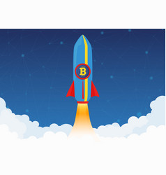 Bitcoin cryptocurrency concept rocket flying to vector