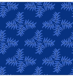 Blue floral pattern with leaves vector