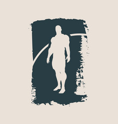 Bodybuilder silhouette sketched vector