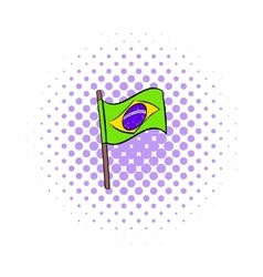 Brazil flag icon comics style vector image