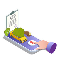 car insurance online flat isometric vector image