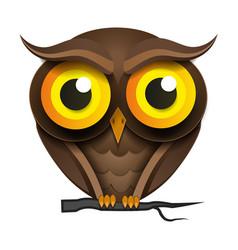 Cartoon owl on a tree branch vector