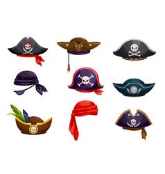 Cartoon pirate bandana sailor tricorn cocked hat vector