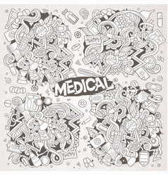 Cartoon set of medical doodles designs vector