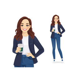 Casual business woman with coffee cup vector
