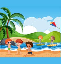 Children on beach vector