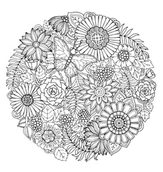 Circle summer doodle flower ornament vector