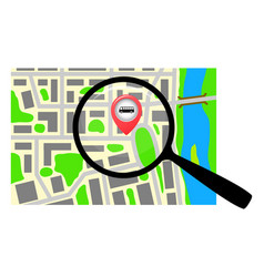 City map with a magnifying glass vector