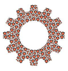 Cogwheel mosaic of electric guard icons vector