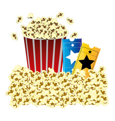 Color background with butter popcorn container and vector