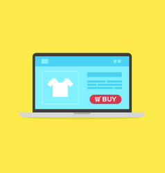 computer laptop and shopping online buy now vector image