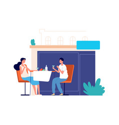 couple in restaurant cafe date tourists vector image