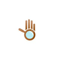 creative hand magnifying logo vector image
