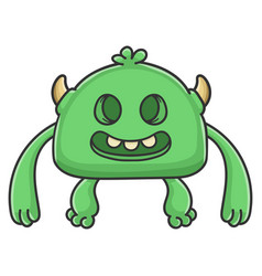 Creepy smiling green goblin cartoon monster vector