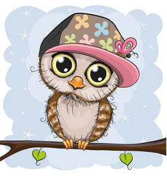 Cute owl in a cap is sitting on a branch vector