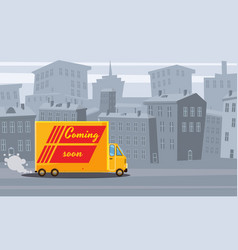 delivery truck transporting cargo to the vector image