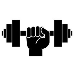 Dumbbell in hand icon vector