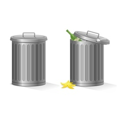 empty and full refuse bin vector image