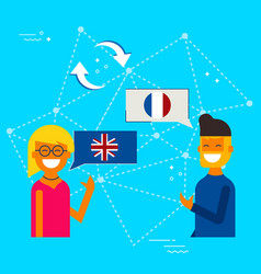 English to french online chat translation concept vector