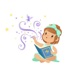 Excited toddler girl sitting with open magic book vector