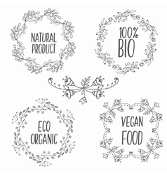 floral decorative frames set Herbs and vector image