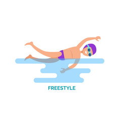 Freestyle swimmer poster text vector