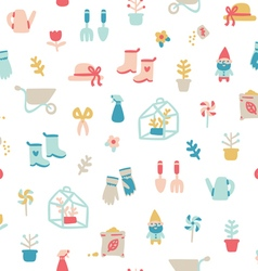Garden stuff cartoon seamless pattern vector image