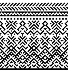 Geometric tribal monochrome pattern with ethnic vector