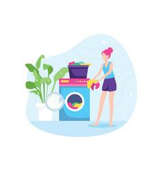 girl washing clothes vector image