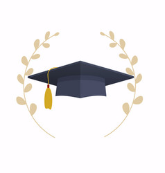 graduation cap education flat design modern vector image