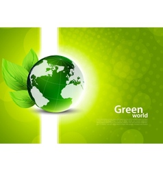 Green background with globe and leaves vector image