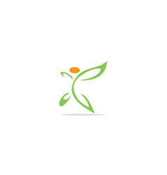 green leaf butterfly eco logo vector image