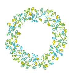 Green leaves wreath design element in hand drawn vector image