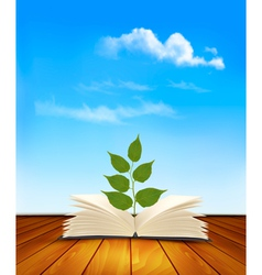Green tree growing from open book vector