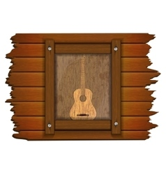 Guitar image on a wooden board in frame uno vector image