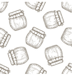 Hand drawn seamless pattern jar of honey over vector