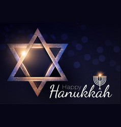 Happy hanukkah shining background with menorah vector