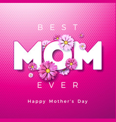Happy mothers day greeting card design with flower vector