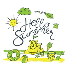 Hello summer pattern vector