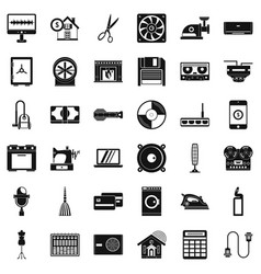 houseworking icons set simple style vector image