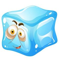 Ice cube with sleepy face vector