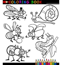 Insects and bugs for Coloring Book vector