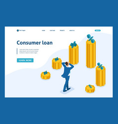 Isometric man looks at amount of loans and rates vector