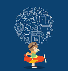 kid playing toy airplane with education icon vector image