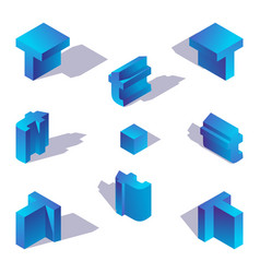 latin letter t blue isometric with shadow vector image