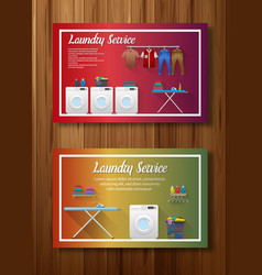 Laundry service banner design on board wall vector