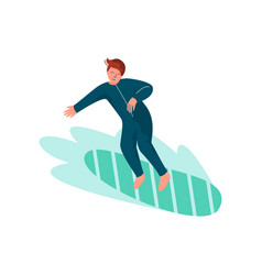 male surfer riding surfboard man doing sports and vector image