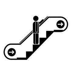 Man escalator up icon simple style vector