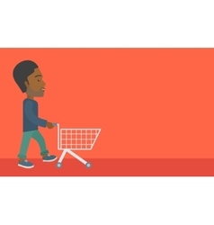 Man with empty cart vector image